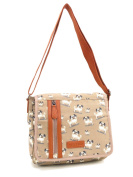 Quality Satchel Handbag Long Shoulder Strap Bag School Girls Cross Body Messenger Beige - Pug Dog