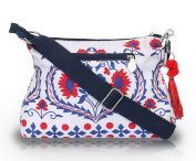 Pick Pocket White Bag With Read and Blue Motiffs