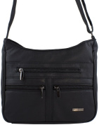 Faux Leather Shoulder / Cross Body Bag with 3 Front Pockets