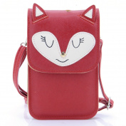 U-TIMES Universal Multipurpose Cute 3D Fox Pattern Synthetic Leather Crossbody Wallet Cell Phone Bag Mini Pouch for iPhone 6/6S,6Plus/6S Plus,Note 5,Note 4,Galaxy S7,S7 Edge