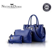 Nicole & Doris 2016 New Women Shoulder Bag 3 Piece Tote Bag Pu Leather Handbag Purse Bags Set