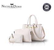 Nicole & Doris 2016 New Women Shoulder Bag 3 Piece Tote Bag Pu Leather Handbag Purse Bags Set