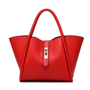 YACUN Womens Faux Leather Handbag New Ladies Shoulder Bags Tote Designer Style Celebrity Faux Leather Red