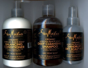 Shea Moisture ORGANIC African Black Soap Set - Shampoo, Conditioner & Scalp Elixir [ALL SEALED] by Shea Moisture
