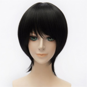 LanTing Ensemble Stars Black Short Styled Woman Cosplay Party Fashion Anime Wig