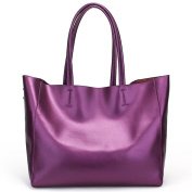 YX Women's Large Capacity Genuine Leather Work Tote Shoulder Bag With Hand Organiser Bag