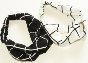 GIFZY 100% Cotton Fabric Head band/ Hair Wrap (Women's Gypsy/hippie Bandana), cool stylish ,chic and cute black and white set of 2