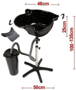 All-In-One Elite Hairdressers Portable Salon Tilting Black Backwash Basin Bowl Stand with Drainage Tank and Free Large Gripper Gel Neck Rest - Hair Barber Salon Clinic Surgery Training