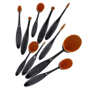 Bestidy New Professional 10 Pcs Soft Oval Toothbrush Makeup Brush Sets Foundation Brushes Cream Contour Powder Blush Concealer Brush Makeup Cosmetics Tool Set