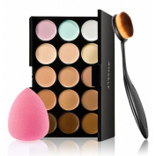 Anself 15 Colours Make Up Palette + Sponge Puff + Oval Makeup Brush