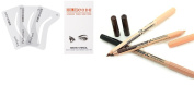 (Black Brown) Duo Eyebrow Pencil & Concealer 2 in 1 Makeup and Eyebrow stencil Pack