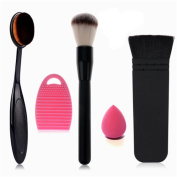 Start Makers Makeup Brush Set - Premium Synthetic Make Up Brushes - Absolutely Soft Cosmetics Brushes - Oval Foundation Flat Contour Blush Brush with Make Up Brush Cleaner - Beauty Blender Sponge