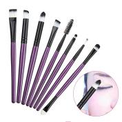 Hrph 8Pcs Professional Eye Makeup Brushes Set Cosmetics Eyeliner Eyeshadow Eyelash Eyebow Flat Brush Make Up Tools kits