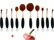 10pcs Makeup Brushes Set Toothbrush Design Shape Elite Oval Makeup Foundation Powder Brush Eyeliner Lip Oval Brush Set Beauty Cosmetics Tools-Makeup Kit simple Package Gold+ Cleaning Makeup Washing Brush Silica Glove Clean Scrubber Board