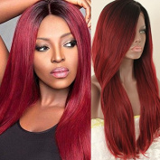 PlatinumHair #1b & 99j ombre natural straight wigs synthetic lace front wigs glueless for black women 60cm - 70cm