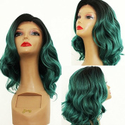 PlatinumHair #1b & green bob wave synthetic lace front wavy wigs heat resistant for black women 36cm - 46cm