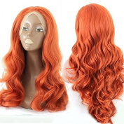PlatinumHair natural looking orange wave synthetic lace front wigs heat resistant for black women 60cm