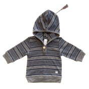 Merino Charcoal and Navy Stripe Hooded Top