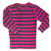 Merino Pink and Navy Stripe Thermal Top