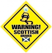 Warning Scottish Driver Car Sign, Car Sign, Baby on board, Bad Driver, Novelty Car Sign, Bumper Sticker, Decal, Jock Driver, Scots, Country Sign