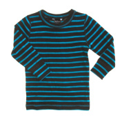 Merino Black and Blue Stripe Thermal Top