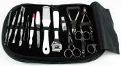 Starlite-Manicure Set-15 Piece Stainless Steel Manicure Pedicure kit in Rexine Leather Black Case-Mens & Womens Gifts