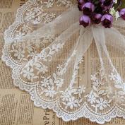 White 5 Yards Grace Floral Embroidered Lace Dress Edge Fabric Ribbon Garter Lace Craft Home Party Decorations 15cm Wide