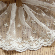 White 5 Yards Grace Cotton Embroidered Mesh Lace Edge Trim Fabric Ribbon Wedding Bridal Veils Craft Hesd Ornaments 8.9cm Wide