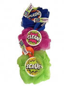 Razz Bath & Shower Grime Fighter Sponge, Hard Centre Easy to Grip; Splash! Clean! Scrub!, Vibriant Colours-3 Total Sponges