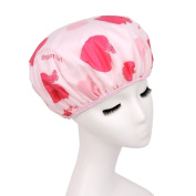 Women Elastic Band Reusable Thicken Double Layer Waterproof Absorbent Shower Cap Spa Bathing Hat Hair Drying Cap