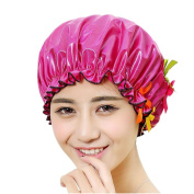 Women Elastic Band Reusable Double Layer Waterproof Absorbent Shower Cap Spa Bathing Hat Butterfly