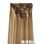 A.H Full Head Clip in Hair Extensions, High temperature wire, Thick Hair, Clip On Hair 12 pcs/set #18/613 by A.H