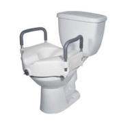 2 in 1 Locking Elevated Toilet Seat with Tool Free Removable Arms, 140kg Weight Capacity (Single [Each-1]) by DRIVE MEDICAL