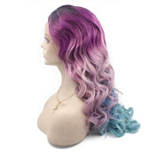 Kylie Jenner Heat Resistant Fibre Hair mermaid black blue to blue body wave Synthetic lace front wig for women.