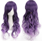 AneShe Harajuku Anime Cosplay Wig Purple Gradient Long Curly Synthetic Hair Wigs
