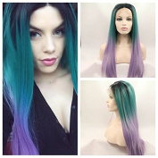 kylie Jenner Heat Resistant Fibre Hair mermaid ombre black green to purple silky straight Synthetic lace front wig for african american black and white women.