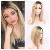 Kylie Jenner Heat Resistant Fibre Hair balck to blonde bob dark root Synthetic lace front wig for women.