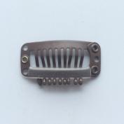 100pcs 9 Teeth Clip Snap Clips for Hair Extensions 32mm Long Medium-carbon Steel Black Brown Beige