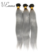 "V-Emma 100% Human Virgin Hair Straight Silver Grey hair Weave, Brazilian Virgin Human Coloured Hair 16""18""18"""