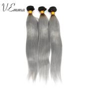 "V-Emma 100% Human Virgin Hair Straight Silver Grey hair Weave, Brazilian Virgin Human Coloured Hair 16""18""18"""