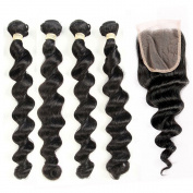 QLOVE HAIR Loose Wave Hair 3 Bundles With Closure Malaysian 7A Grade Natural Colour