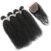 QLOVE HAIR Malaysian Curly Hair 4 Bundles With Closure 7A Grade Natural Colour