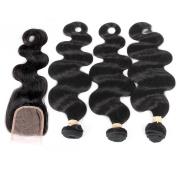 QLOVE HAIR Body Wave Bundles Of 3 With Closure Brazilian Hair 7A Grade Natural Colour
