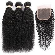 QLOVE HAIR Brazilian Curly Hair 3 Bundles With Closure 7A Grade Natural Colour
