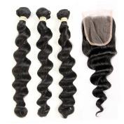 QLOVE HAIR Brazilian Loose Wave 3 Bundles With Closure Virgin Hair 7A Grade Natural Colour