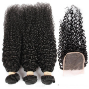 """QLOVE HAIR Indian Curly Bundles With Closure Pack Of 3 Natural Colour 7A Grade(16""""16""""16""""with 16""""."""