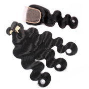 QLOVE HAIR Indian Hair Extensions Body Wave 3 Bundles With Closure 7A Grade Natural Colour