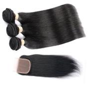 QLOVE HAIR Indian Straight Hair 3 Bundles With Closure 7A Grade Natural Colour