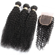 QLOVE HAIR Peruvian Curly Hair 3 Bundles With Closure 7A Grade Natural Colour