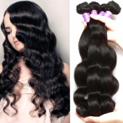 Flady Hair Brazilian Hair Body Wave Weave 4 Bundles 100% Unprocessed Virgin Remy Hair Bundles 7a Natural Black Colour